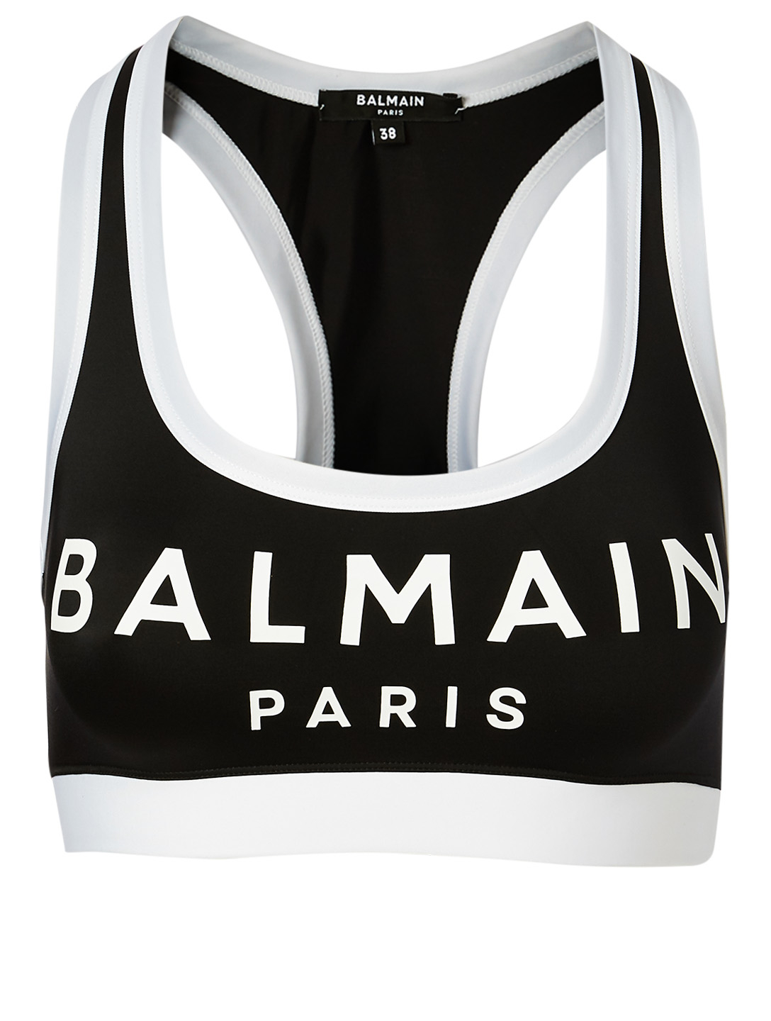 BALMAIN Logo Racerback Sports Bra Women's Black