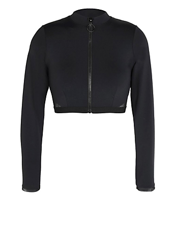 STELLA MCCARTNEY Sporty Mesh Cropped Long-Sleeve Rashguard Women's Black