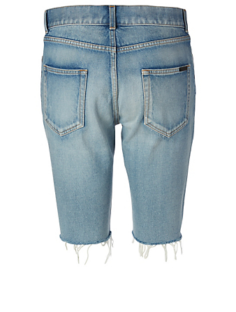 SAINT LAURENT Denim Bermuda Shorts Women's Blue