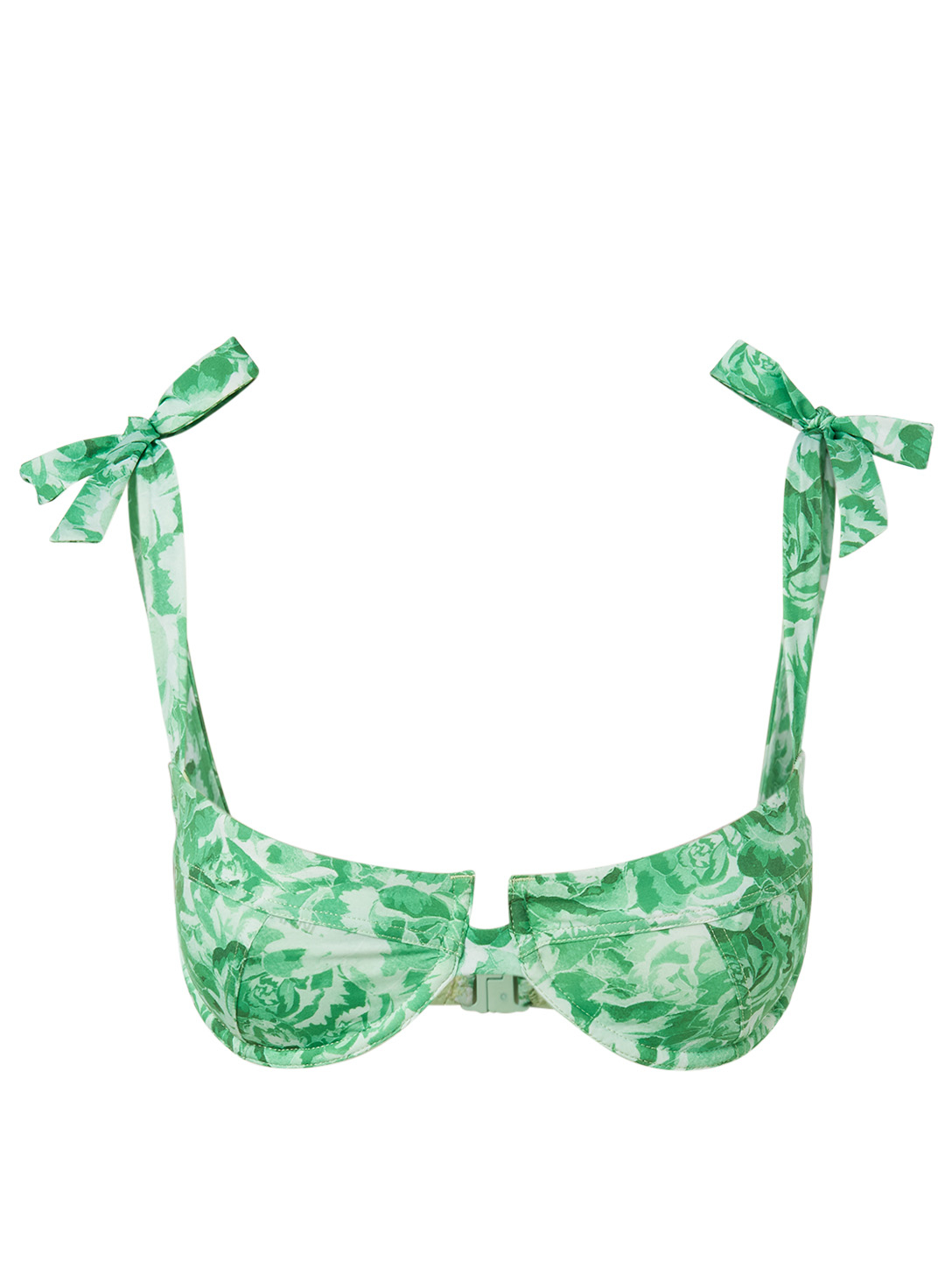 GANNI Underwire Bikini Top In Floral Print Women's Green