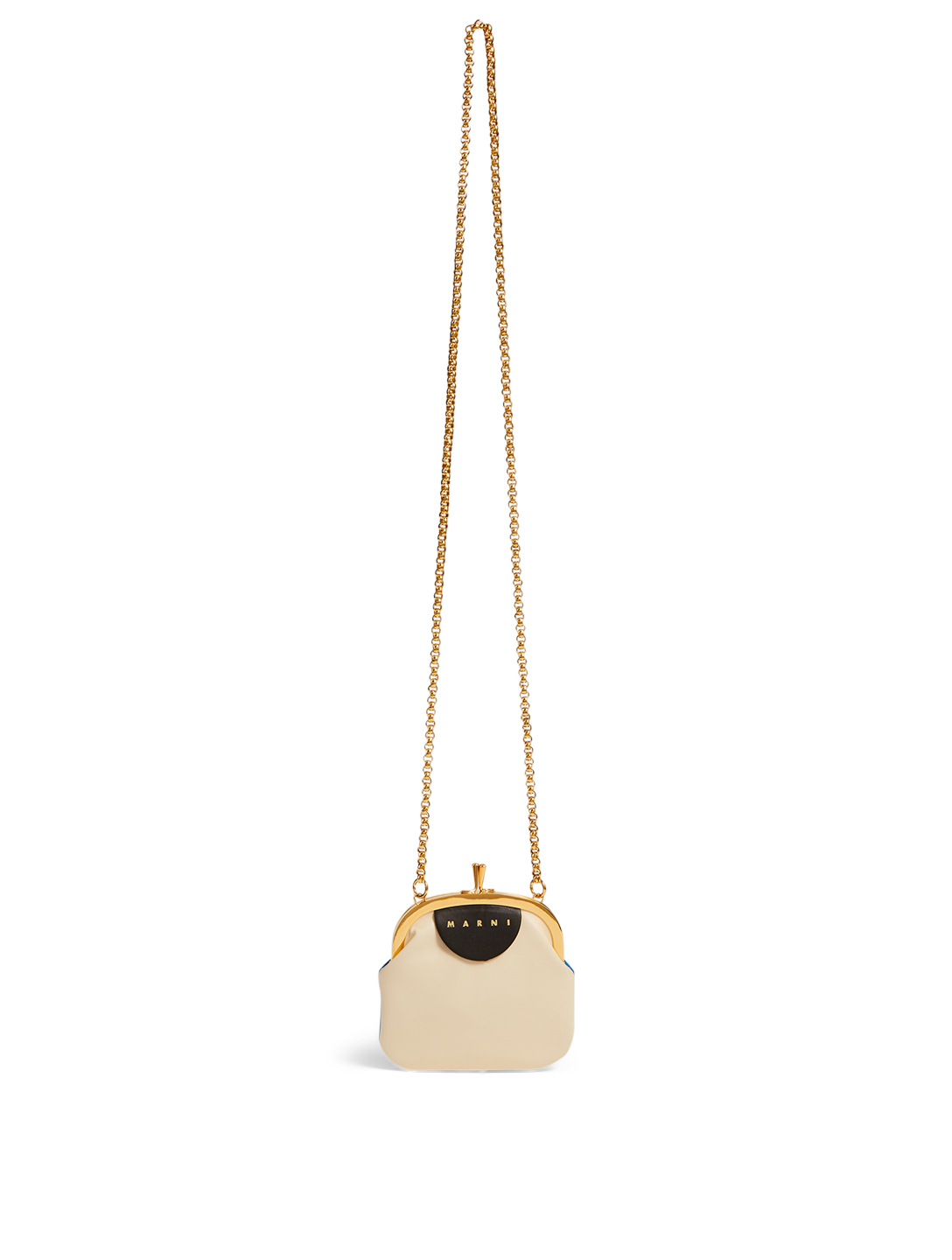 MARNI Frame Leather Chain Pouch Bag Women's White