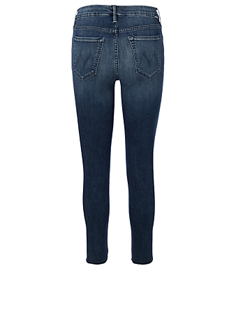 MOTHER Looker Jeans With Ankle Fray Women's Blue