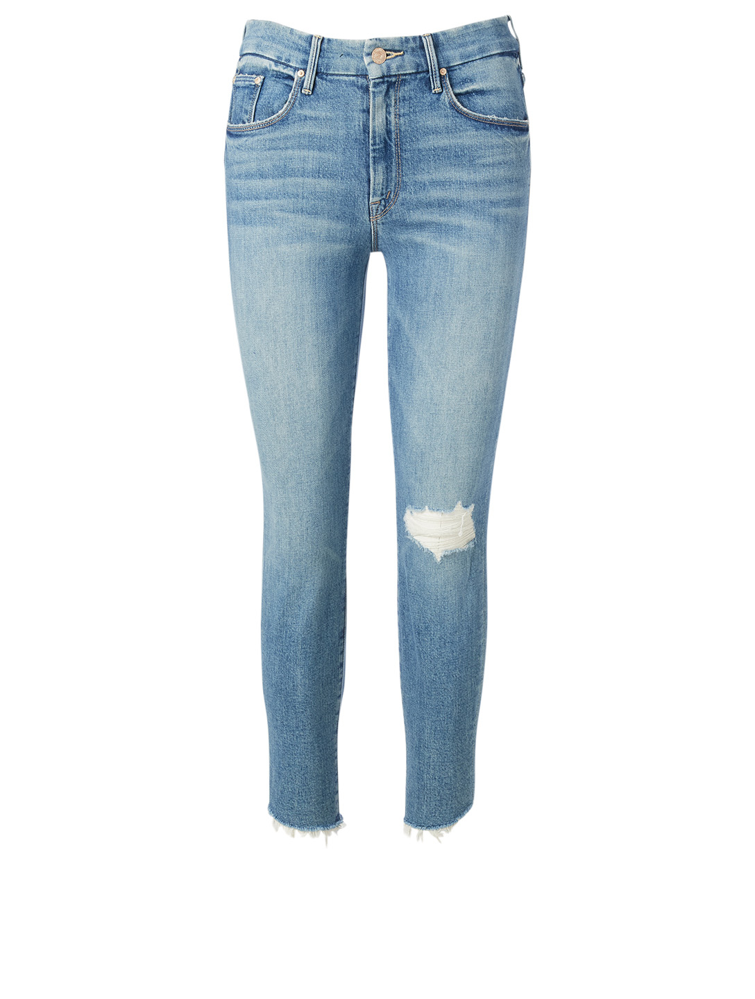 MOTHER Looker Ankle Jeans With Step Fray Women's Blue