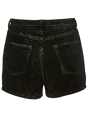 SAINT LAURENT Short en velours dévoré à sequins Femmes Noir