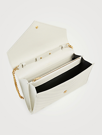 SAINT LAURENT YSL Monogram Leather Chain Wallet Bag Women's White