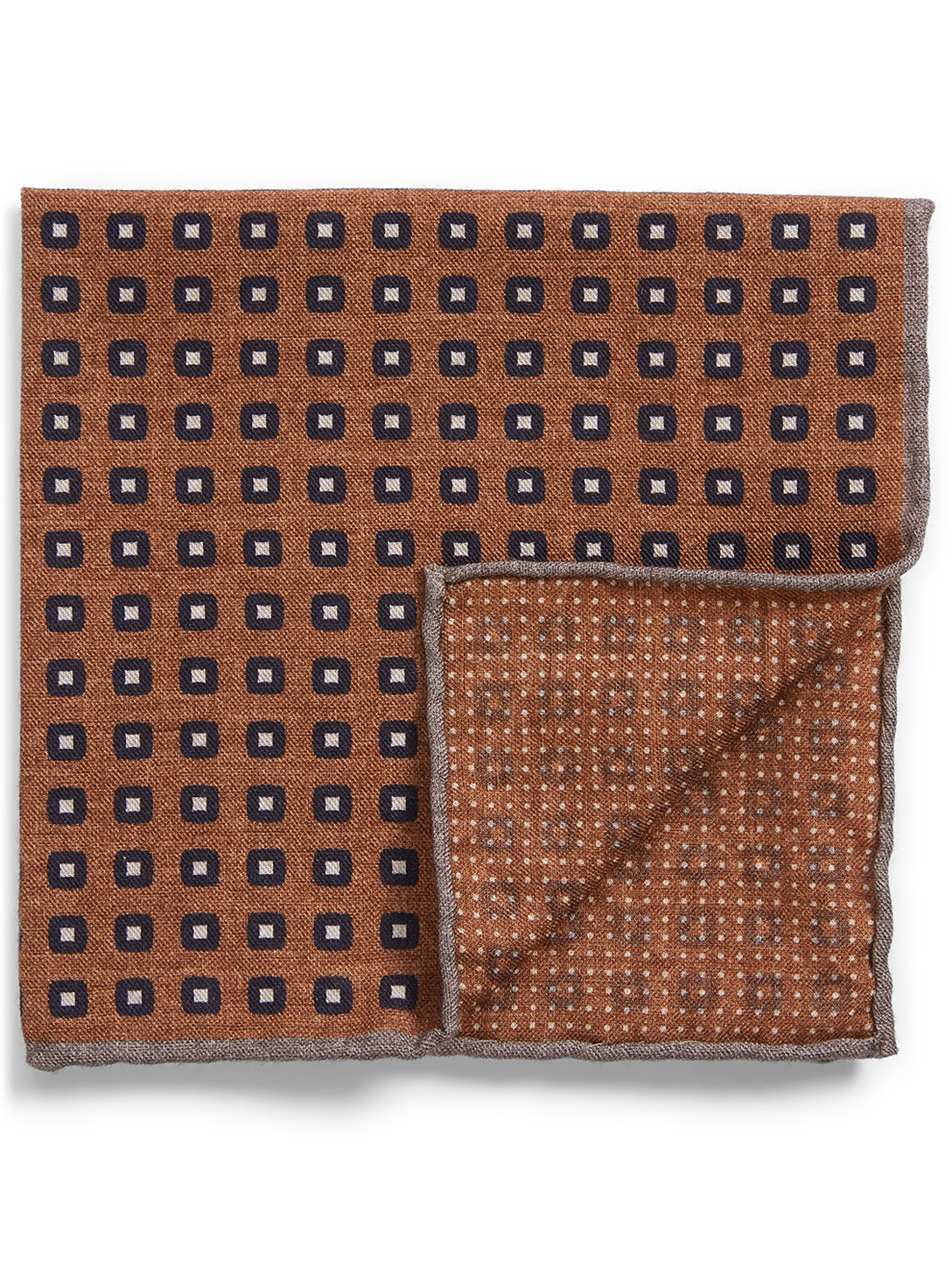 ELEVENTY Wool And Cotton Pocket Square In Geometric Print Men's Beige