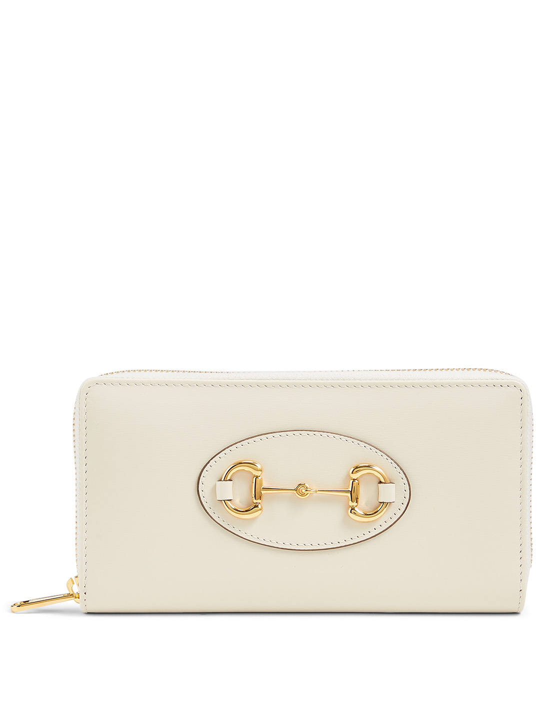 GUCCI Gucci 1955 Horsebit Leather Zip-Around Wallet Women's White