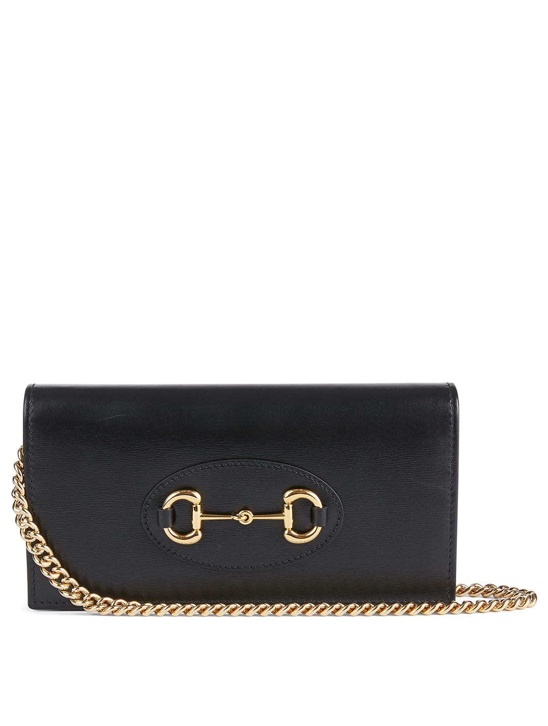 GUCCI Gucci 1955 Horsebit Leather Wallet With Chain Women's Black