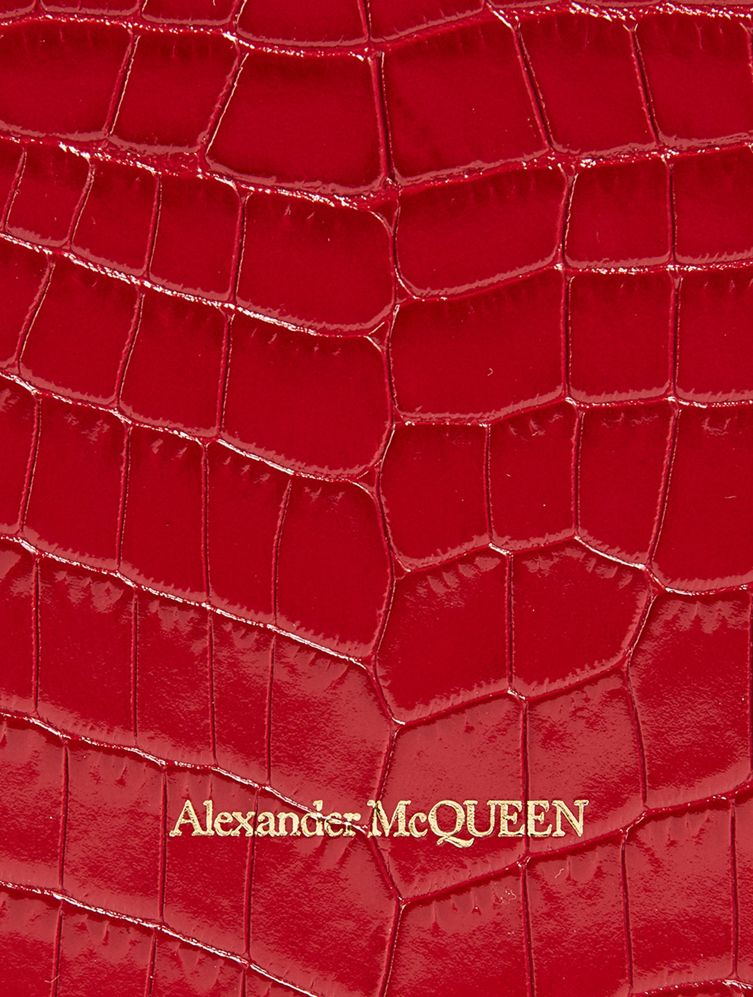 ALEXANDER MCQUEEN Small Skull Croc-Embossed Leather Bag Women's Red