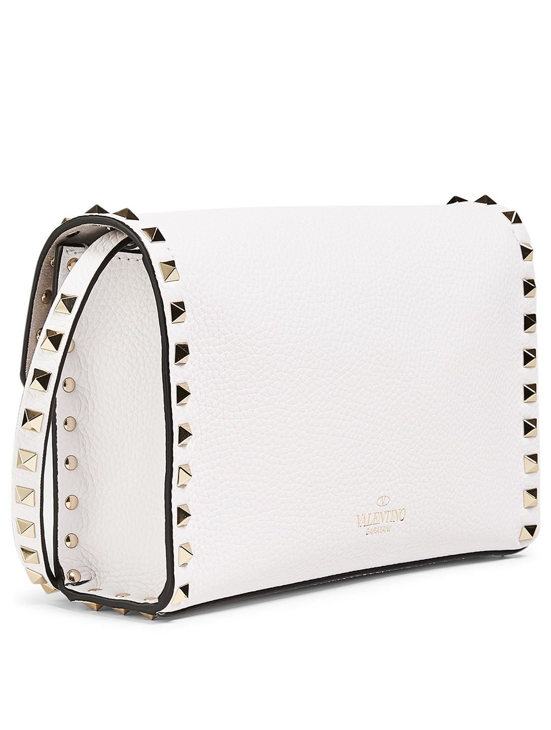 VALENTINO GARAVANI Medium Rockstud Leather Shoulder Bag Women's White