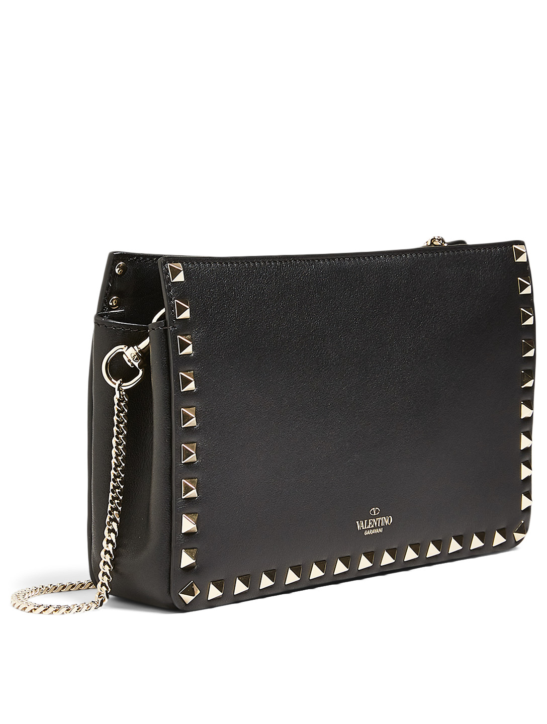 VALENTINO GARAVANI Rockstud Leather Chain Clutch Bag Women's Black