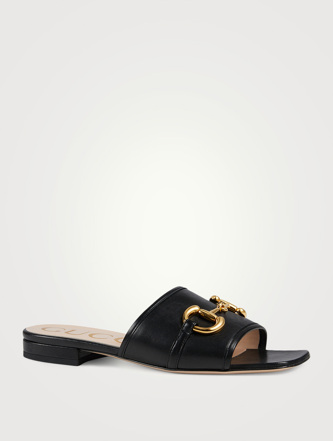 GUCCI Leather Slide Sandals With Horsebit Women's Black