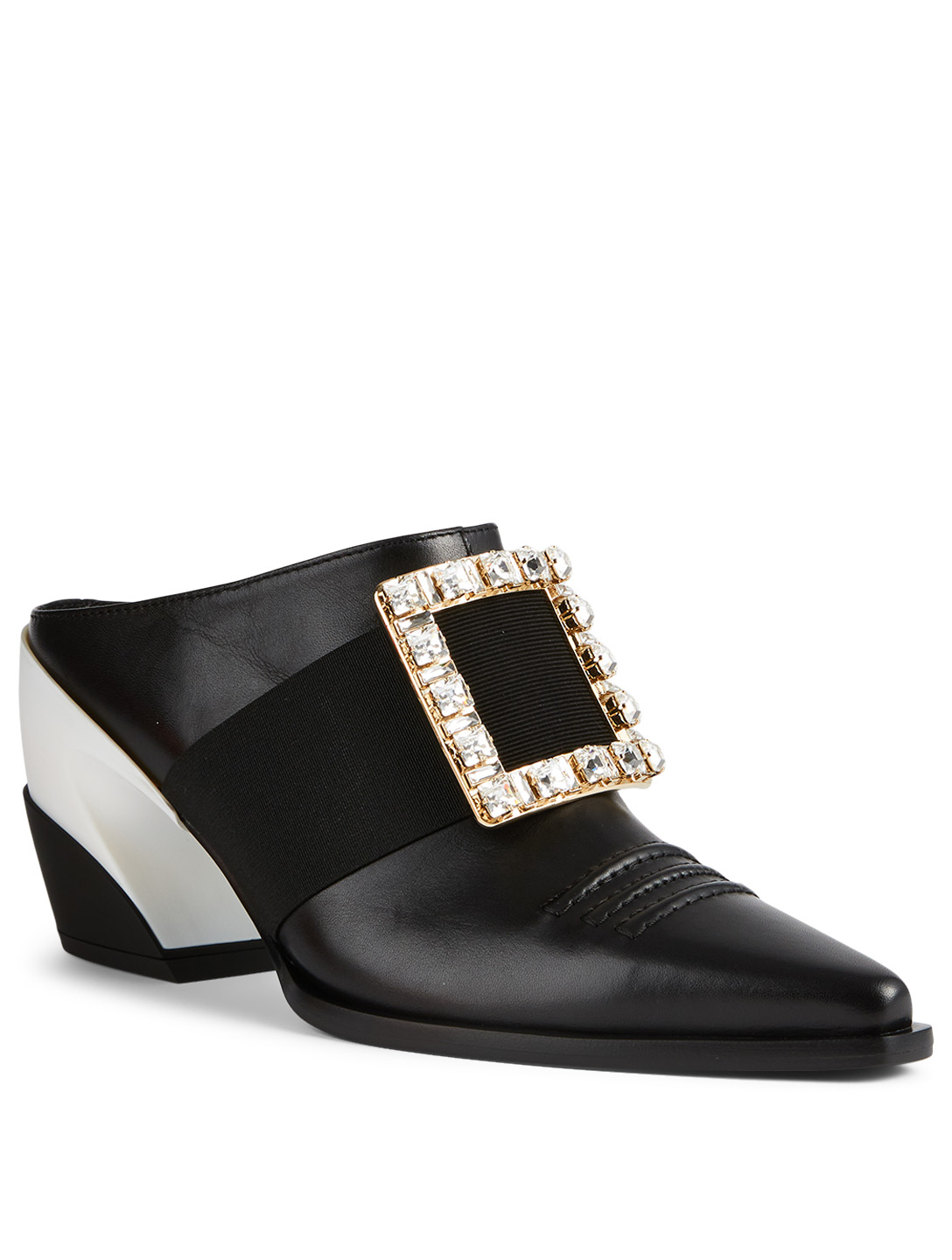 ROGER VIVIER Viv' Tex Strass Buckle 65 Leather Mules Women's Black