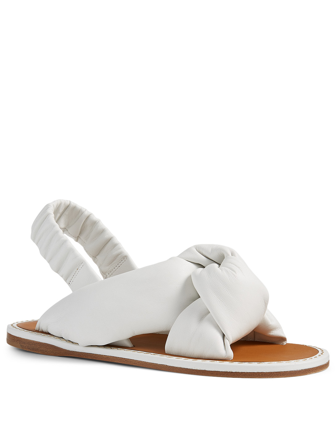 MIU MIU Knotted Leather Slingback Sandals Women's White