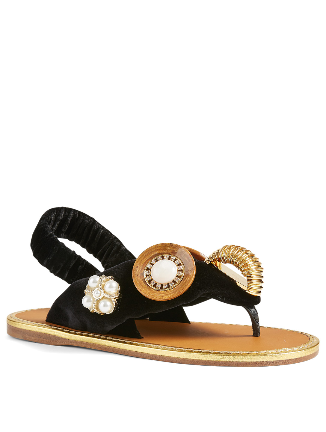 MIU MIU Velvet Thong Sandals With Buttons Women's Black