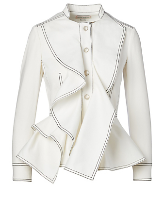 ALEXANDER MCQUEEN Denim Peplum Jacket Women's White