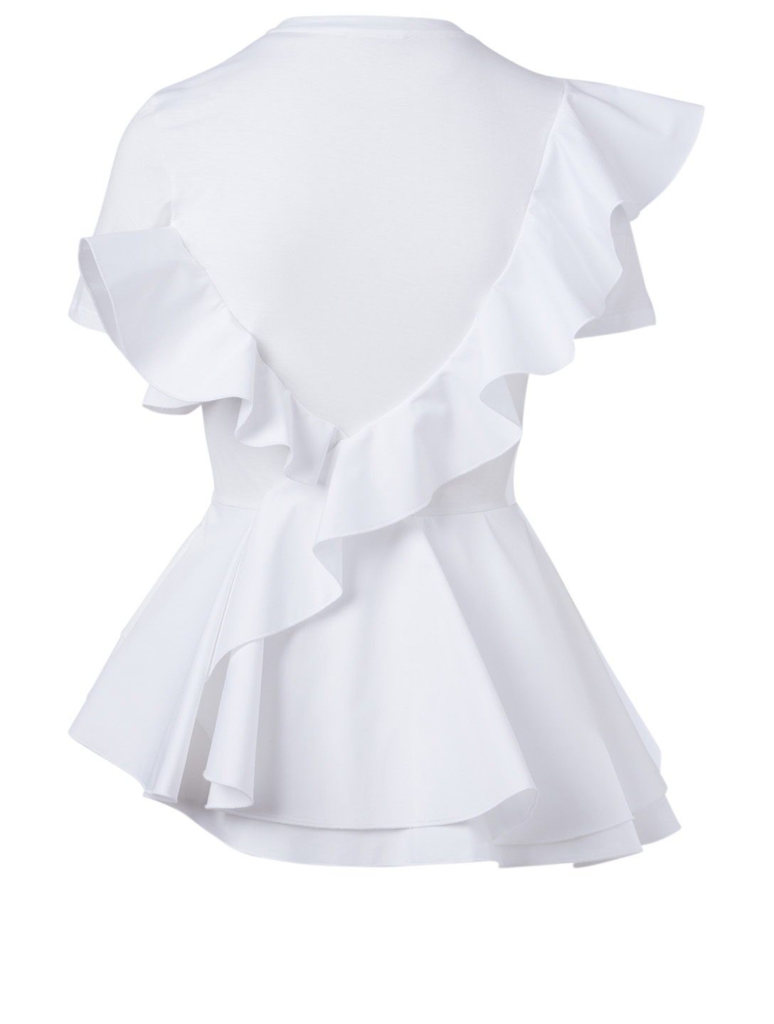 ALEXANDER MCQUEEN This cotton T-shirt has been updated with a roundneck and asymmetric ruffle peplum detail. Femmes Blanc