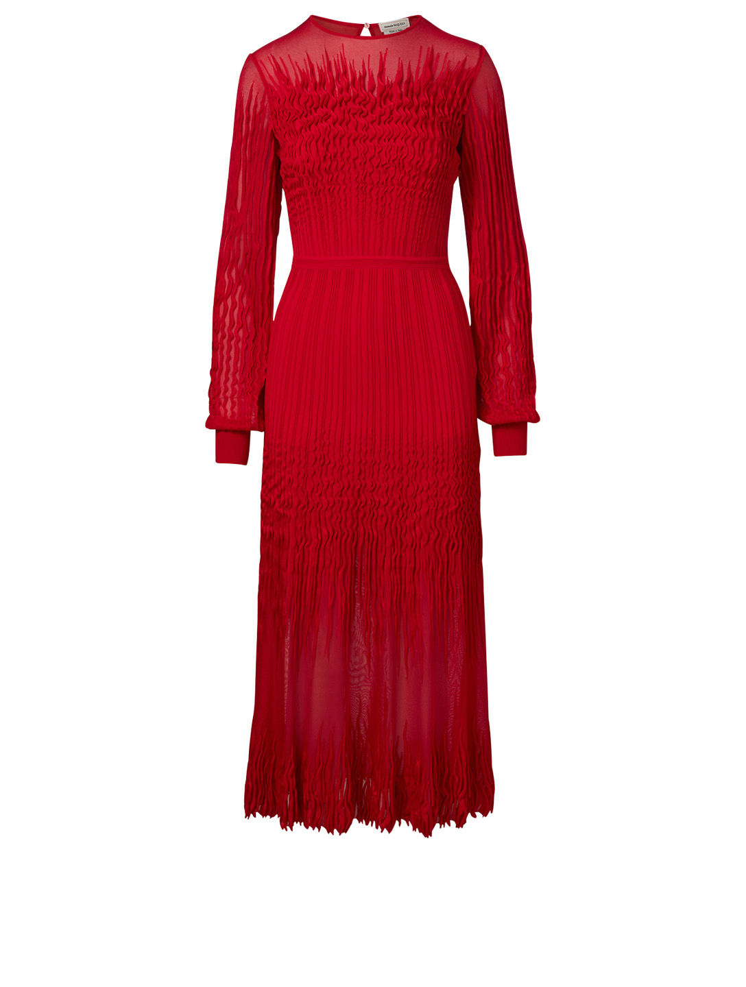 ALEXANDER MCQUEEN Sheer Knit Midi Dress Women's Red