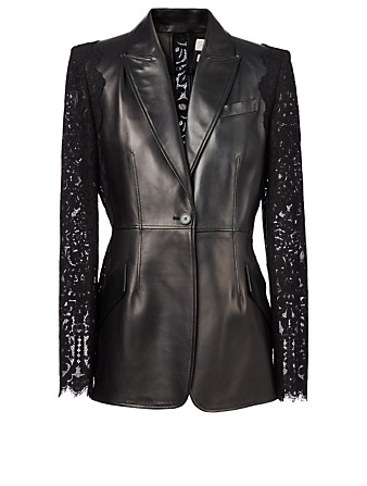 ALEXANDER MCQUEEN Leather And Lace Blazer Women's Black