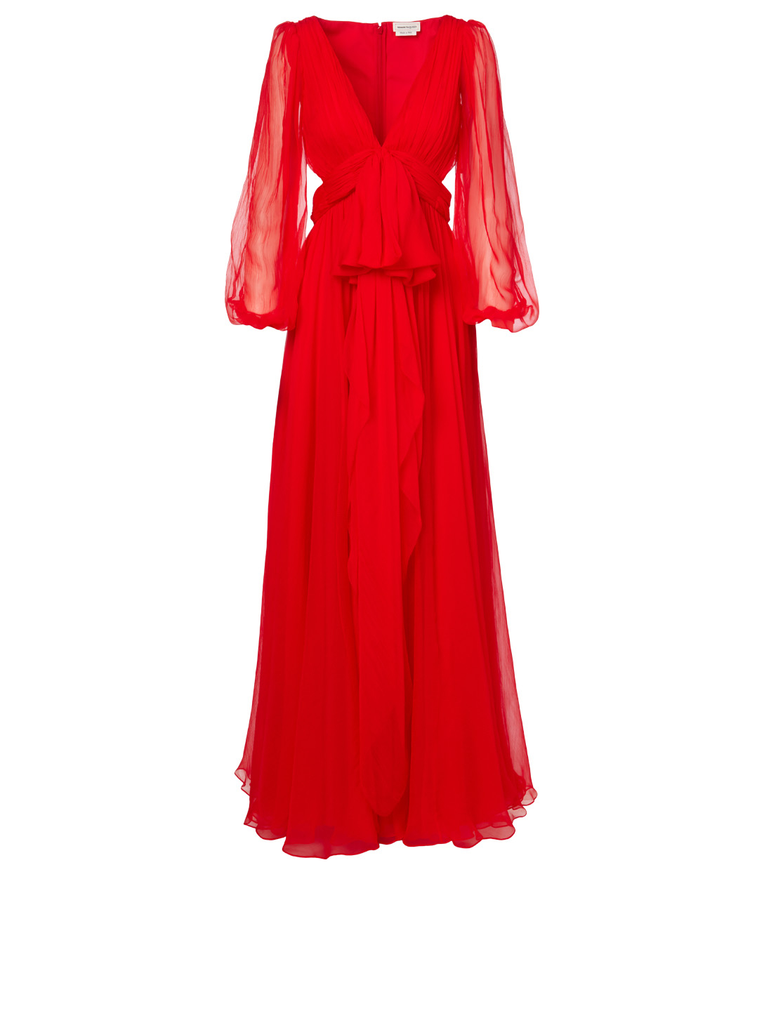ALEXANDER MCQUEEN Silk Long-Sleeve Gown Women's Red