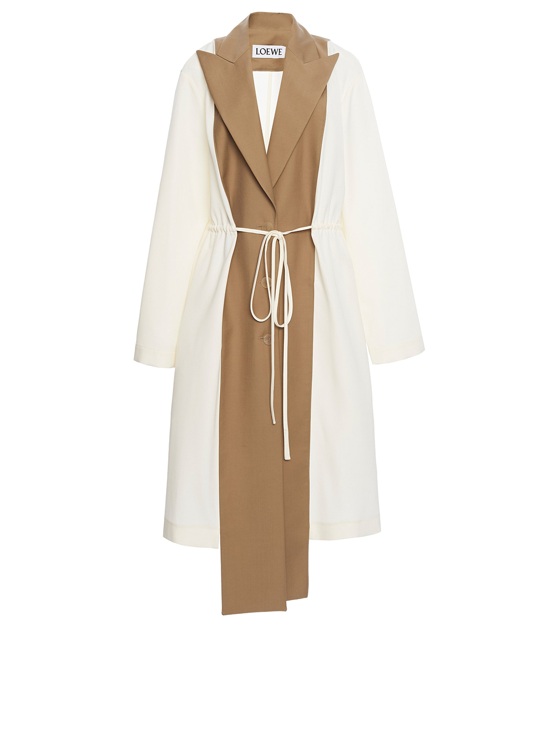 LOEWE Wool Paneled Trench Coat Women's Beige