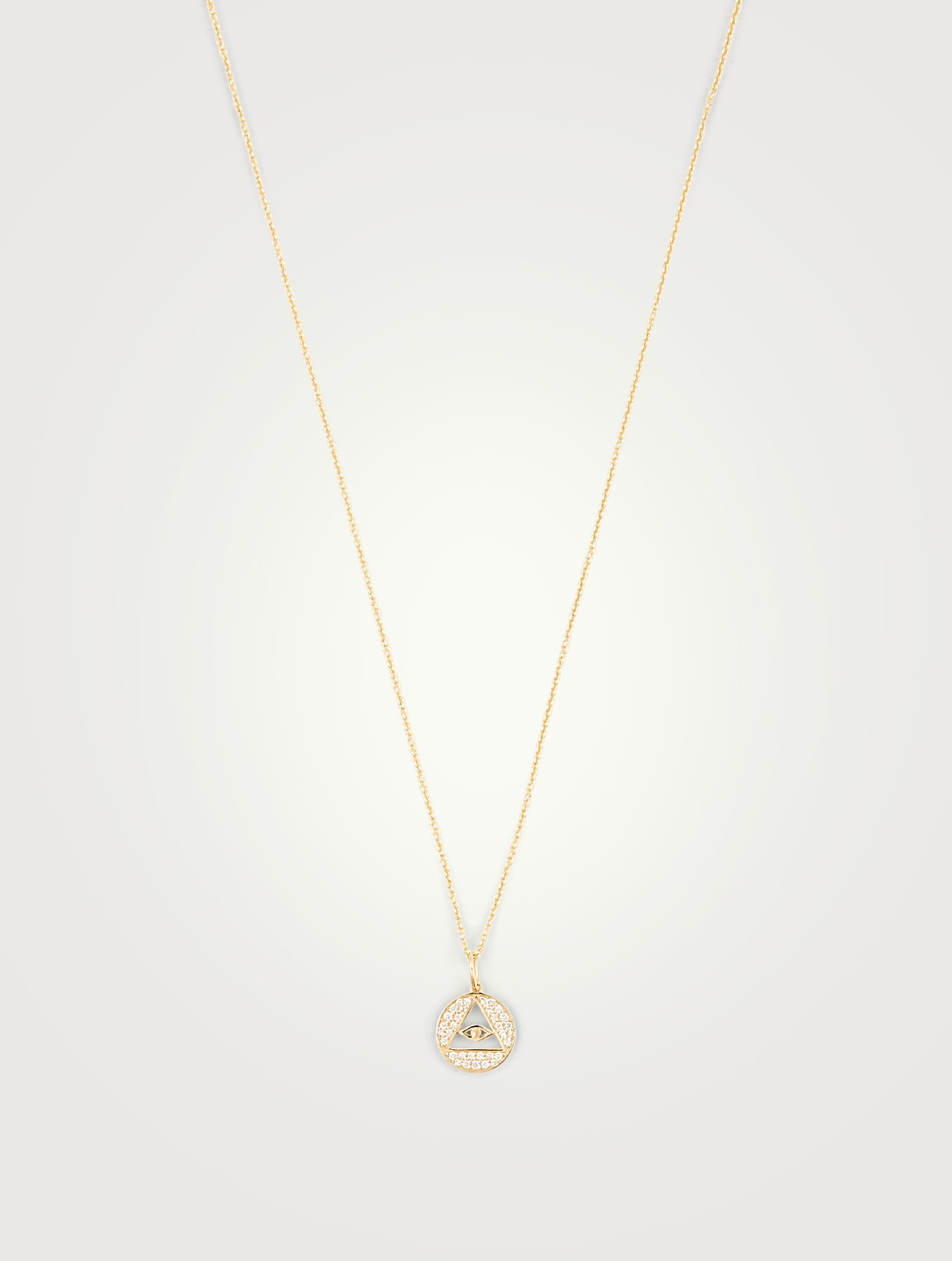 SYDNEY EVAN Medium 14K Gold Pyramid Evil Eye Necklace With Diamonds Women's Metallic