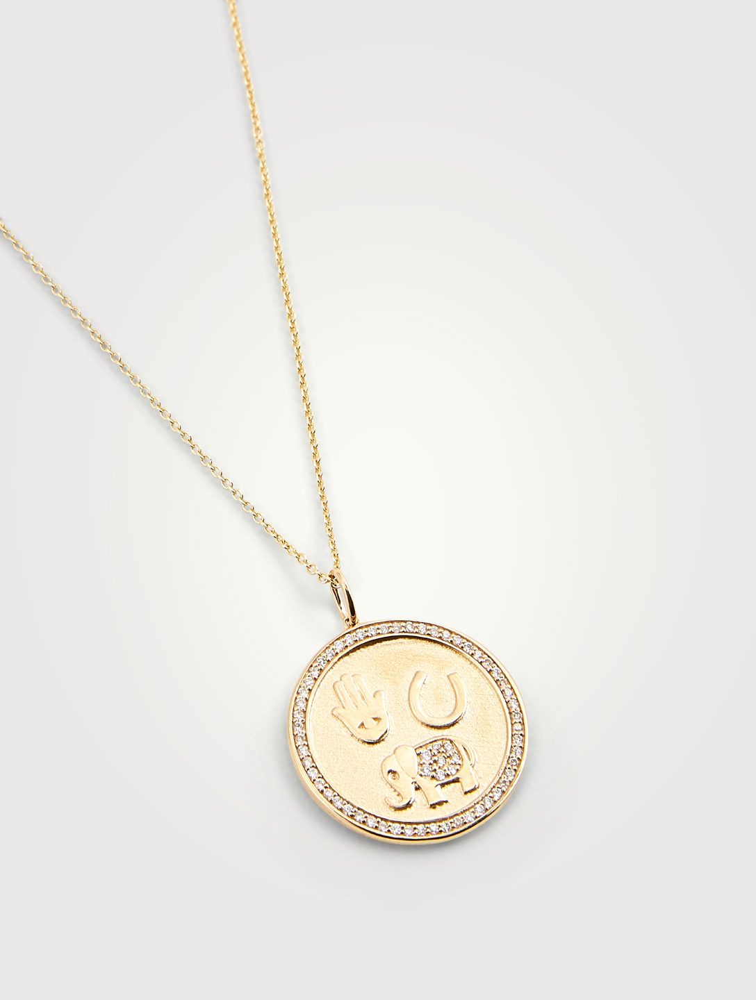 SYDNEY EVAN 14K Gold Coin Necklace With Diamonds Women's Metallic