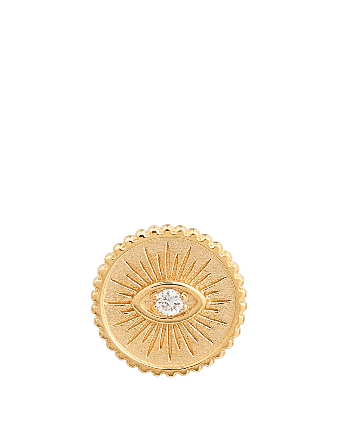 SYDNEY EVAN Small Evil Eye Coin Stud Earring With Diamond Women's Metallic