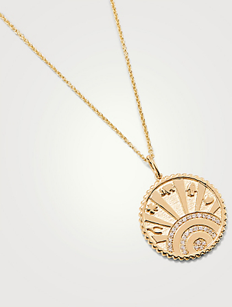 SYDNEY EVAN 14K Gold Luck Coin Medallion Necklace With Diamonds Women's Metallic