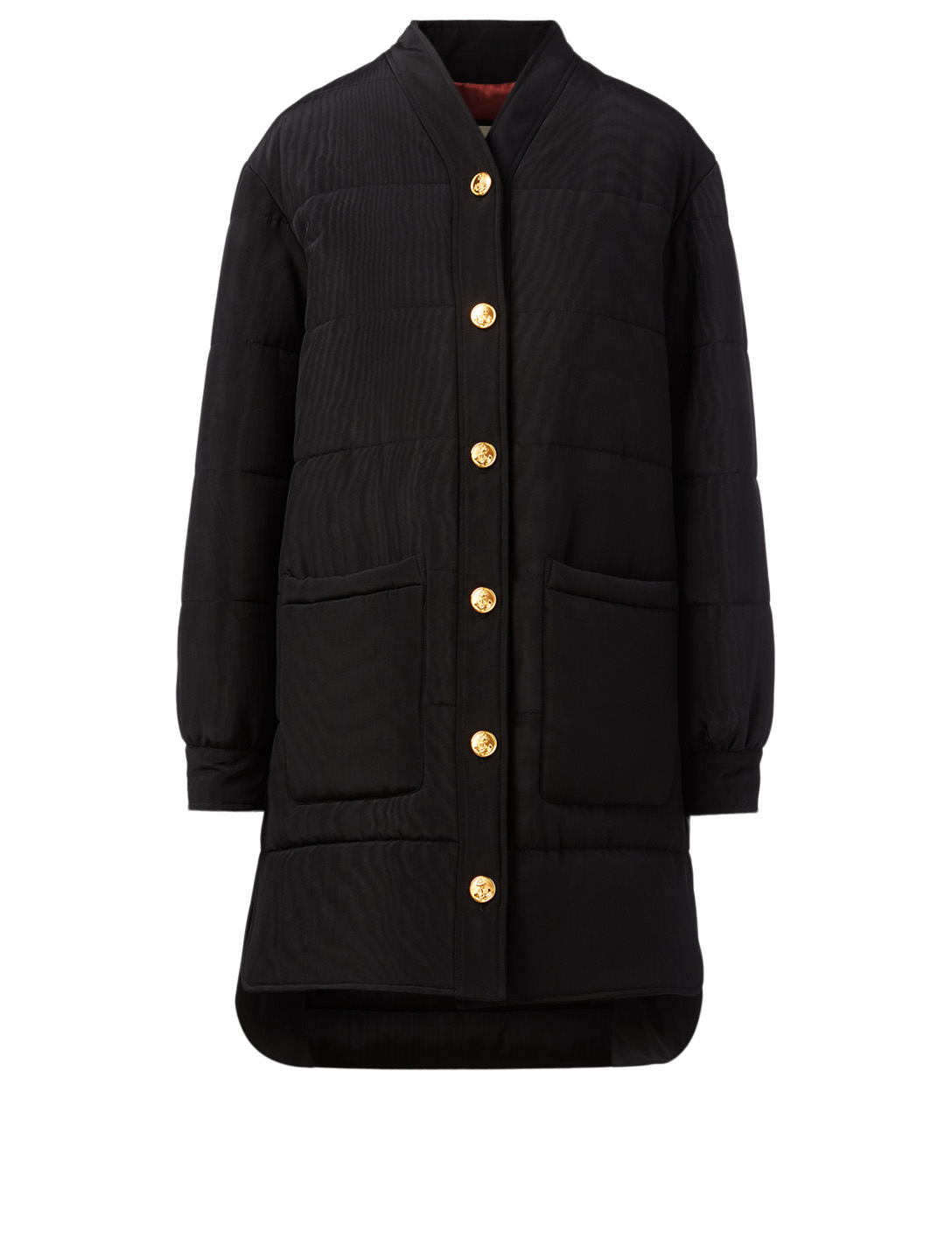 GUCCI Silk-Blend Quilted Coat Women's Black