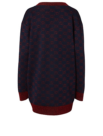GUCCI Wool-Blend Lamé Cardigan With Interlocking G Women's Blue