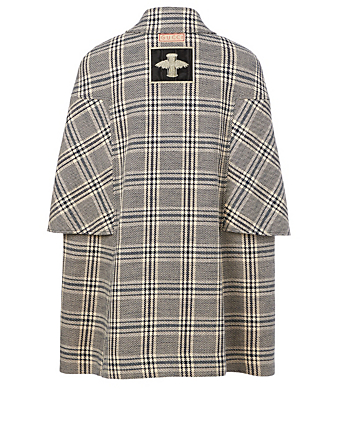 GUCCI Wool-Blend Double-Breasted Cape Coat Women's Multi