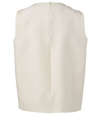 GUCCI Wool And Silk Sleeveless Top Women's White