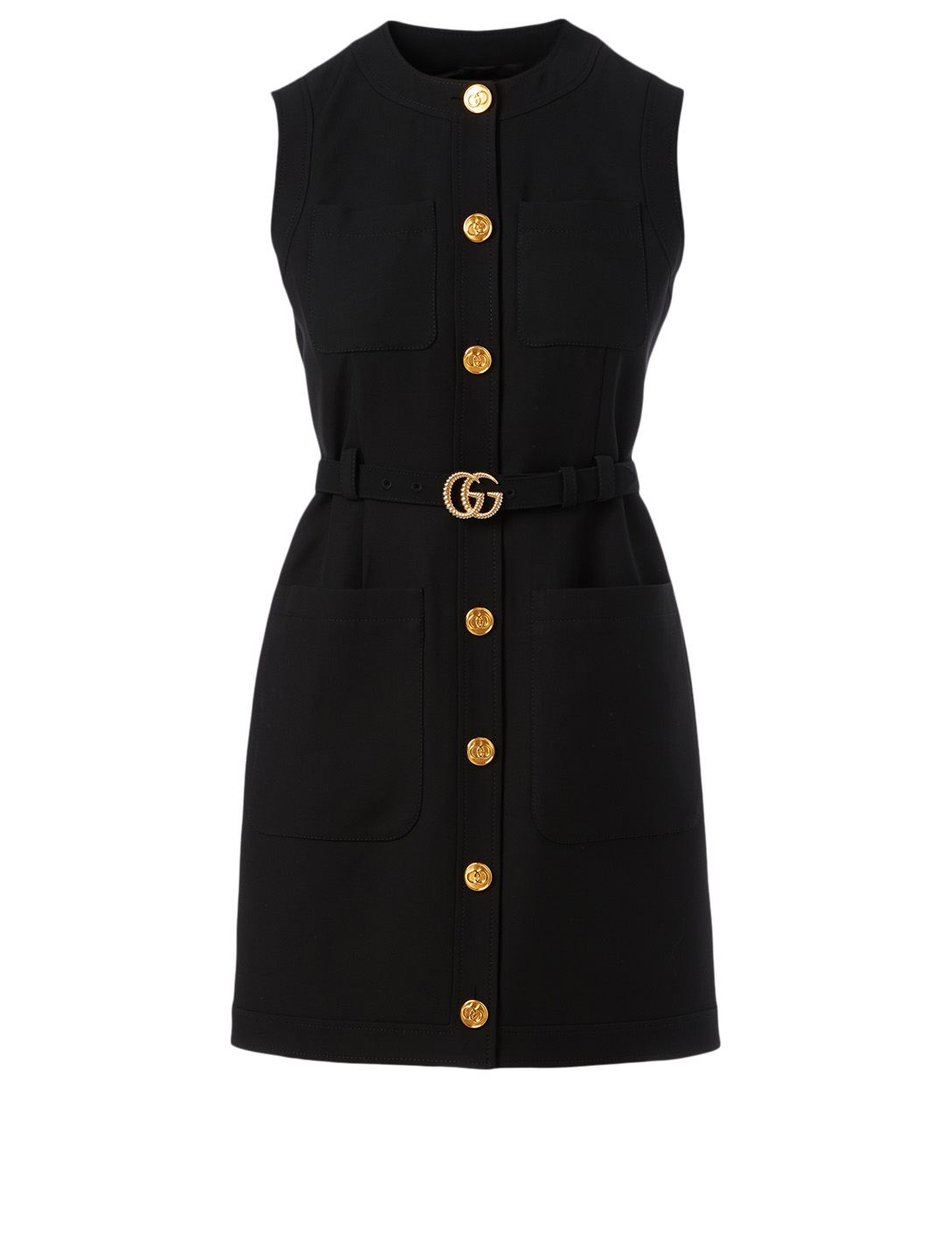 GUCCI Silk And Wool Long Vest With Double G Women's Black