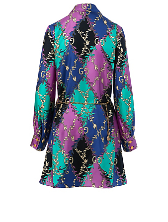 GUCCI Silk Mini Dress In GG Print Women's Multi