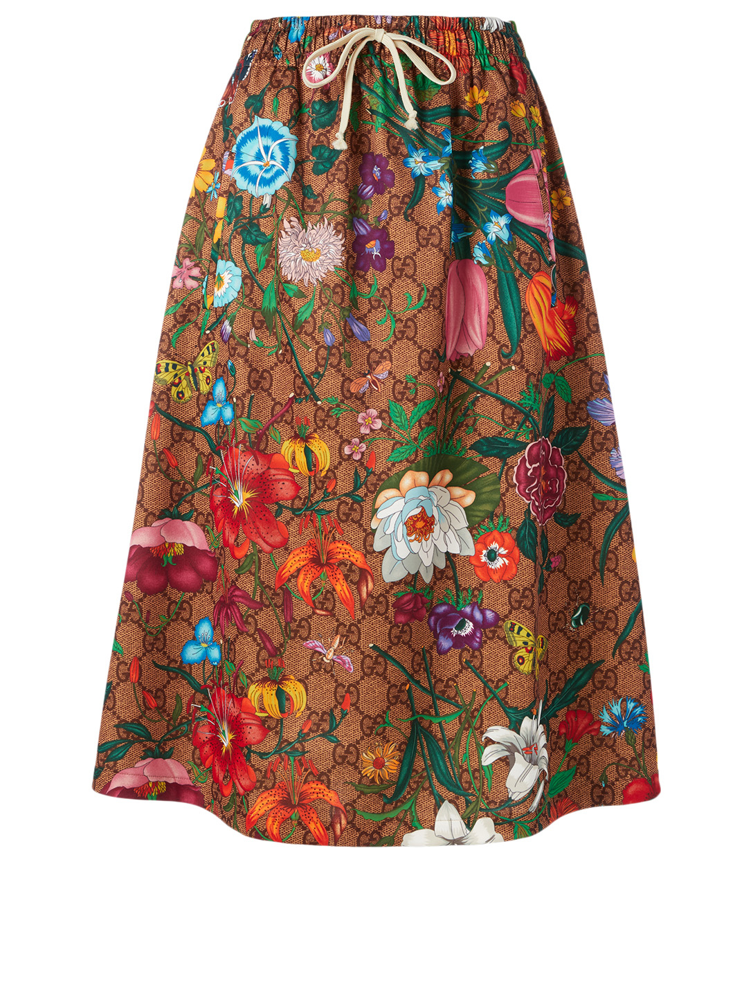 GUCCI Midi Skirt In GG Flora Print Women's Beige