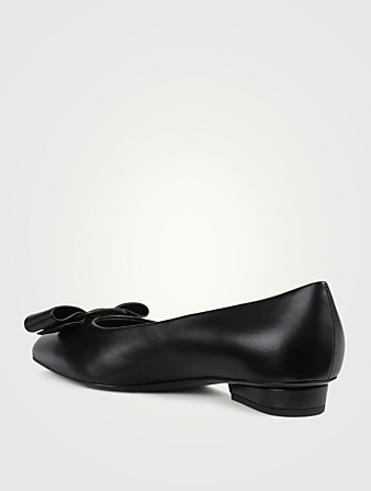 SALVATORE FERRAGAMO Viva Leather Ballet Flats Women's Black