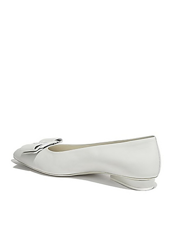 SALVATORE FERRAGAMO Viva Leather Ballet Flats Women's White