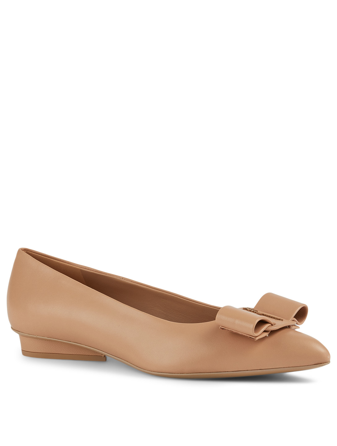 SALVATORE FERRAGAMO Viva Leather Ballet Flats Women's Brown