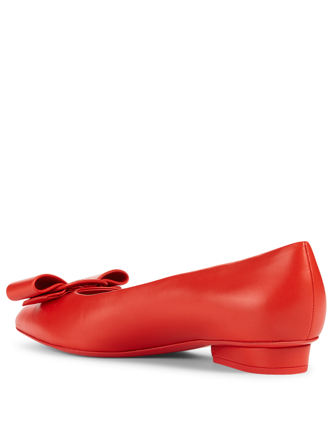 SALVATORE FERRAGAMO Viva Leather Ballet Flats Women's Red