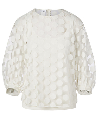 AKRIS PUNTO Embroidered Tulle Blouse With Dots Women's White