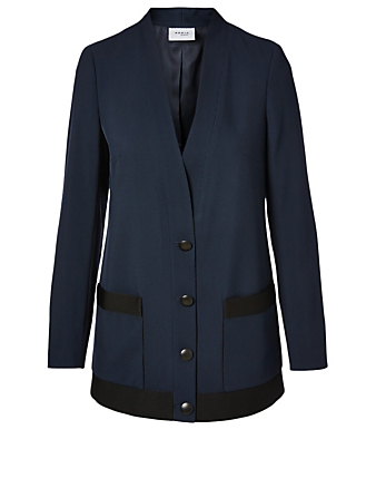 AKRIS PUNTO Wool V-Neck Knit Blazer Women's Blue