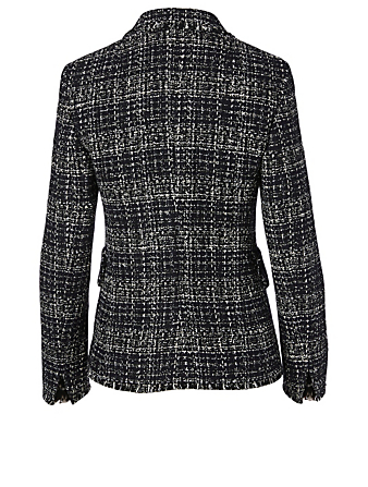 AKRIS PUNTO Tweed Double-Breasted Blazer Women's Blue