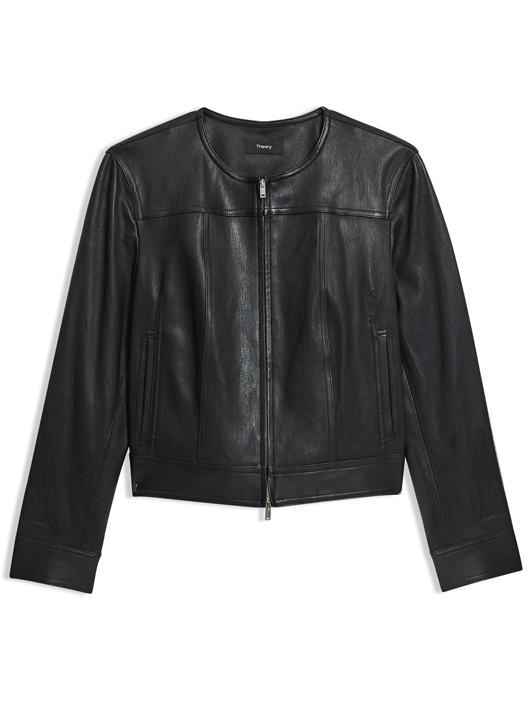 THEORY Leather Stretch Moto Jacket Women's Black