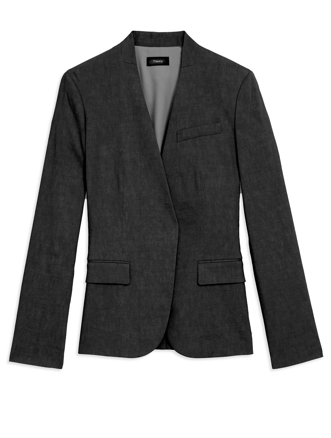 THEORY Linen-Blend Collarless Blazer Women's Black