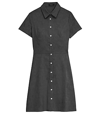 THEORY Linen-Blend Mini Dress Women's Black