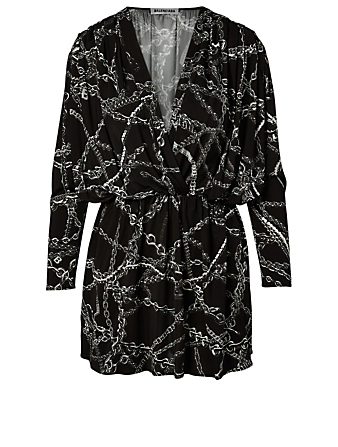 BALENCIAGA Twisted Mini Dress In Chain Print Women's Black