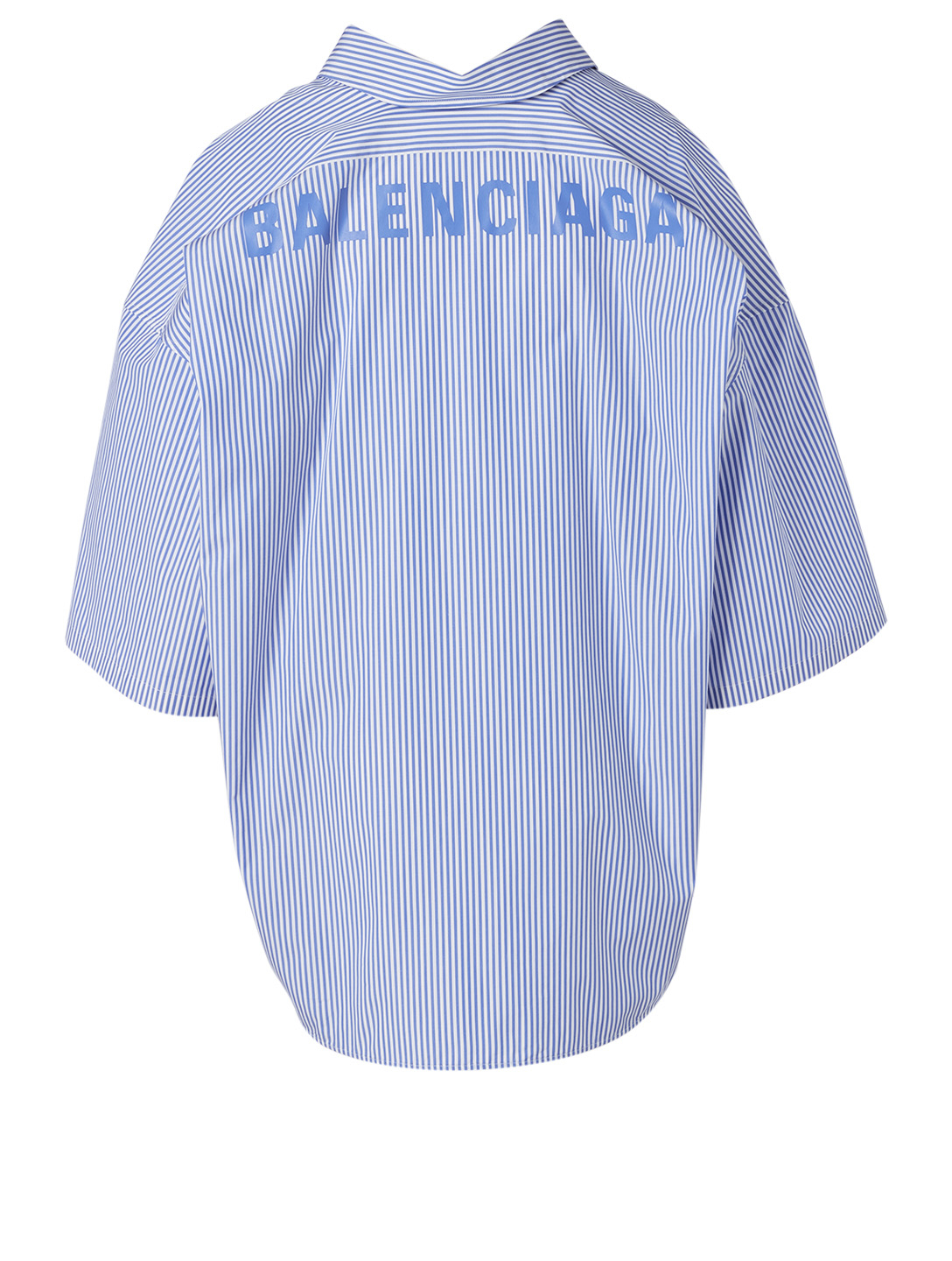 BALENCIAGA Cocoon Short-Sleeve Swing Shirt Women's Blue