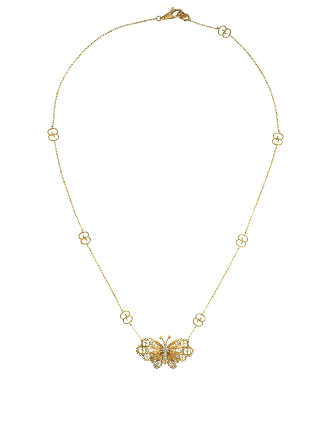GUCCI 18K Gold Butterfly Necklace Women's Metallic