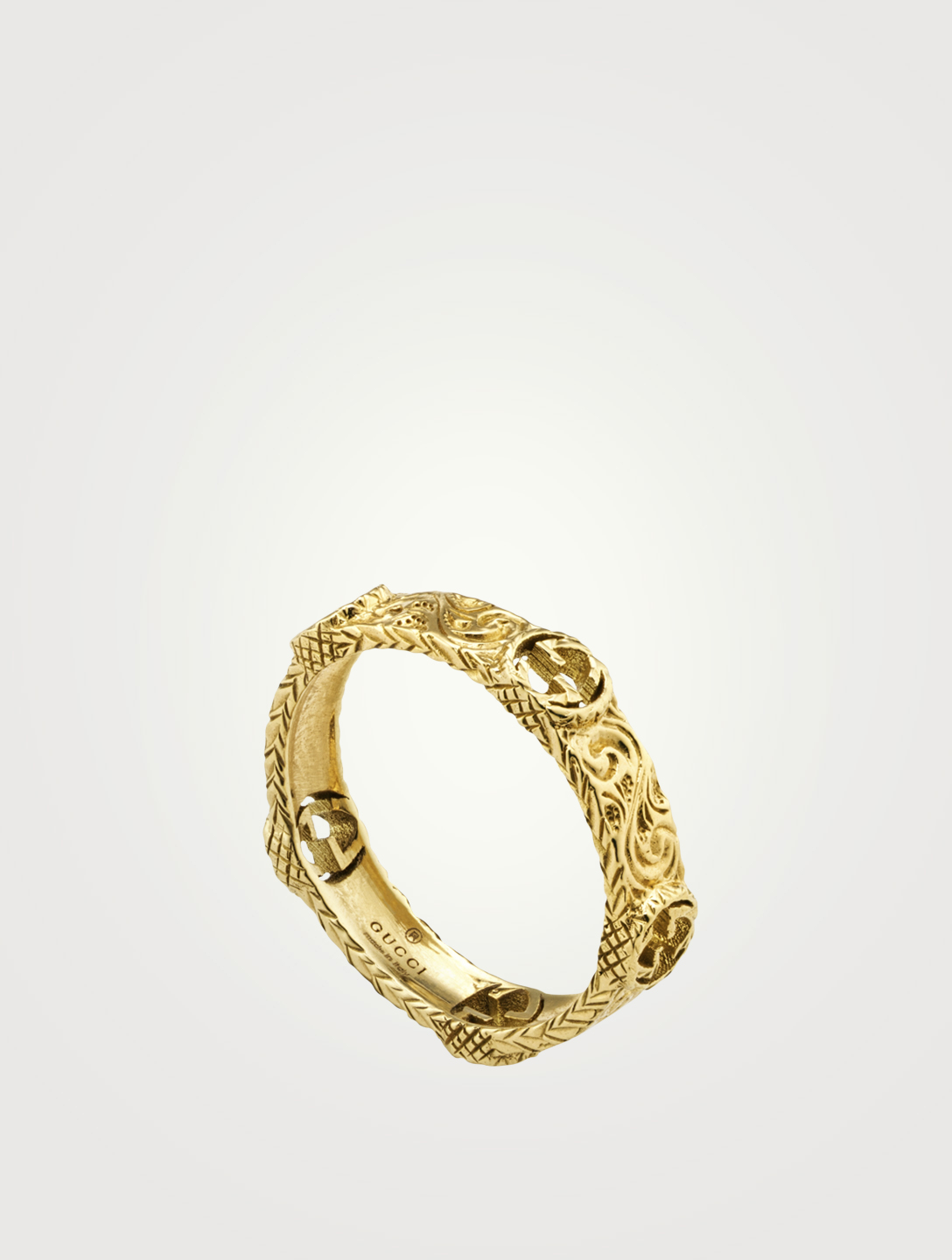 GUCCI 18K Gold Ring With Interlocking G Women's Metallic